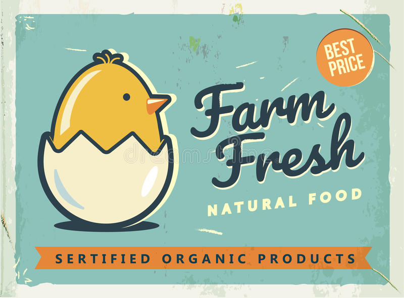 Grunge retro metal sign with chicken and egg. Vintage advertising poster. Farm fresh. Old fashioned design. vector illustration