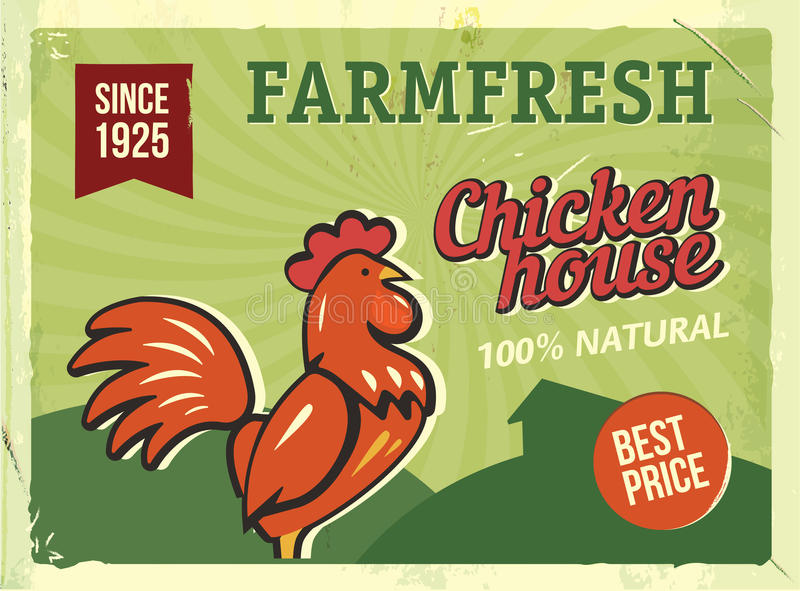 Grunge retro metal sign with chicken. Vintage advertising poster. Farm fresh. Old fashioned design. stock illustration