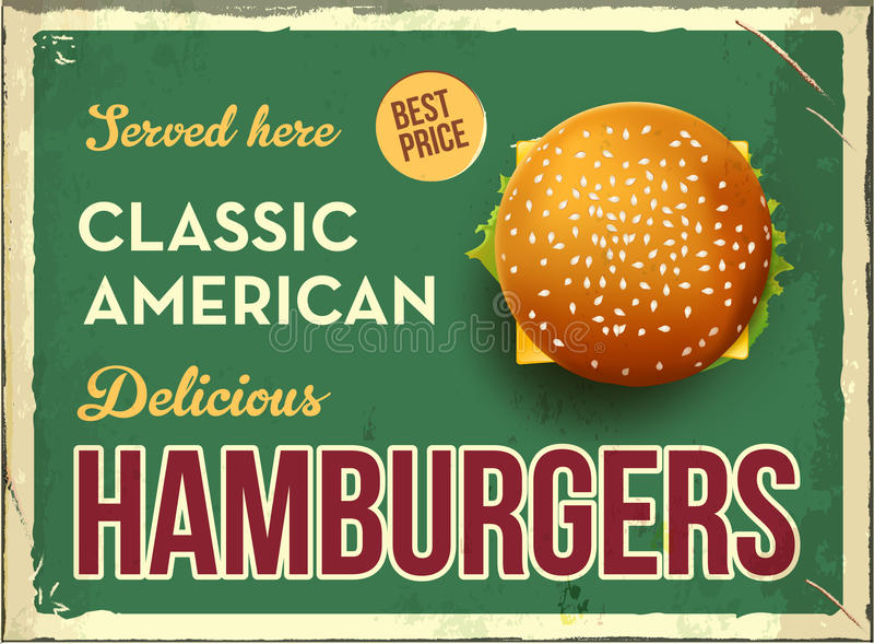 Grunge retro metal sign with hamburger. Classic american fast food. Vintage poster with cheesburger. Old fashioned. Design. Top view stock illustration