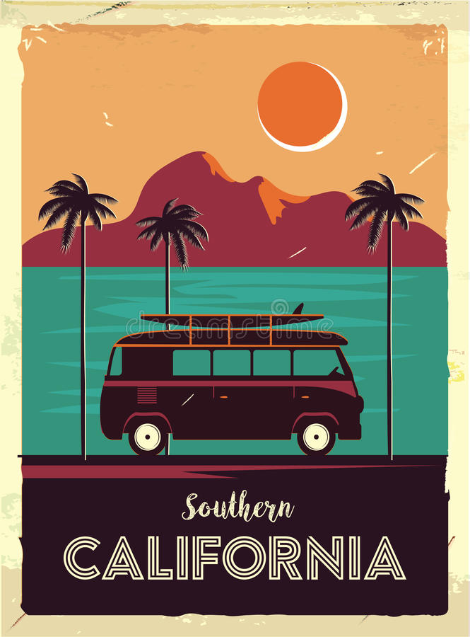 Grunge retro metal sign with palm trees and van. Surfing in California. Vintage advertising poster. Old fashioned design.  vector illustration