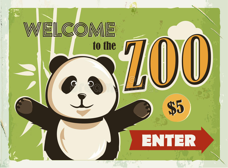 Grunge retro metal sign with panda. Welcome to the Zoo. Vintage poster. Road signboard. Old fashioned design. stock illustration