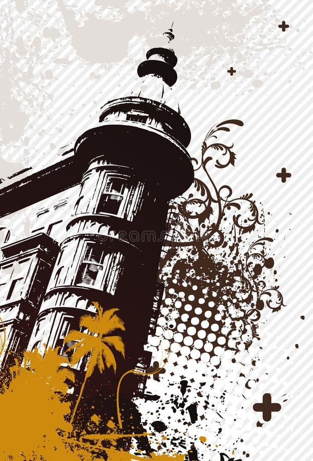 Grunge Retro- Stadt lizenzfreie abbildung
