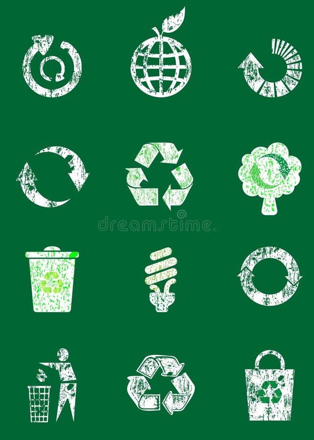 Grunge ricicla l'insieme dell'icona illustrazione di stock