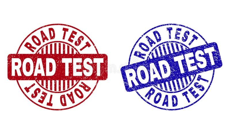 Grunge ROAD TEST Textured Round Stamps royalty free illustration