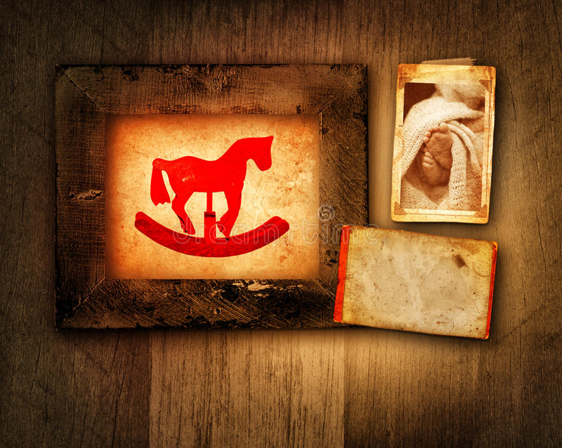 Grunge rocking horse and baby frame royalty free illustration