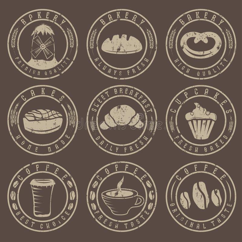 Grunge rocznika kawy i piekarni retro etykietki ilustracja wektor
