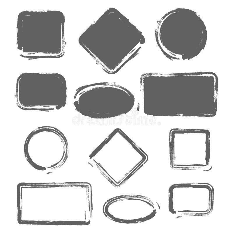 Grunge roczniki malujący kształty ustawiający również zwrócić corel ilustracji wektora ilustracja wektor
