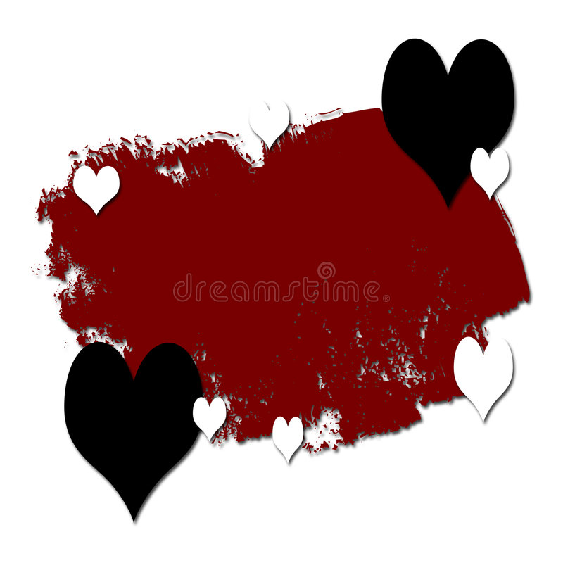 Grunge and Romance. With hearts on red background royalty free illustration
