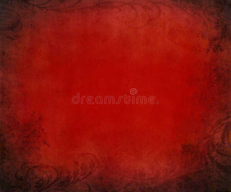 Grunge rood geweven document royalty-vrije illustratie