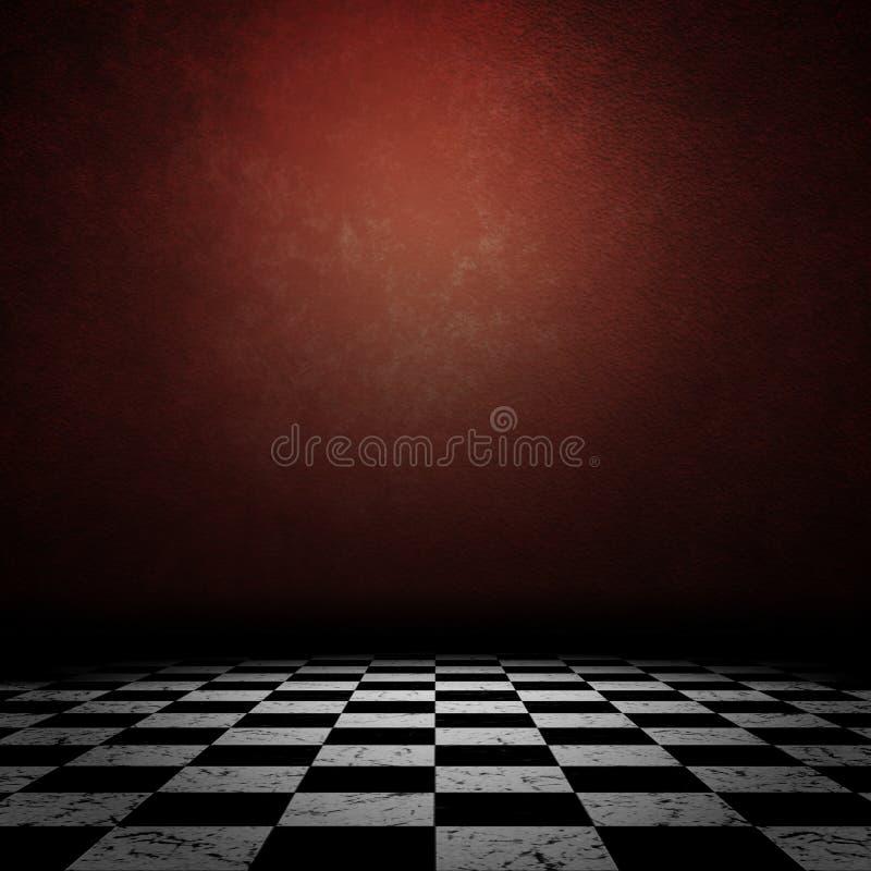 Grunge room with checkerd floor stock image