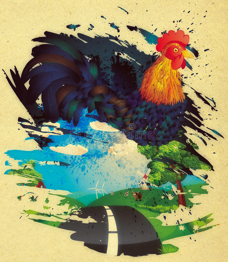 Grunge Rooster. Colorful rooster illustration with grunge ink splatters on paper background