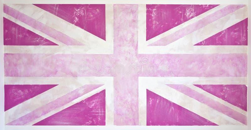Grunge rosado Union Jack ilustración del vector