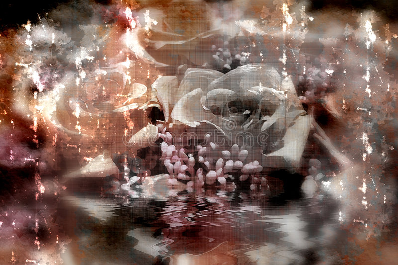 Grunge roses. Grunge background with roses in water reflection stock illustration