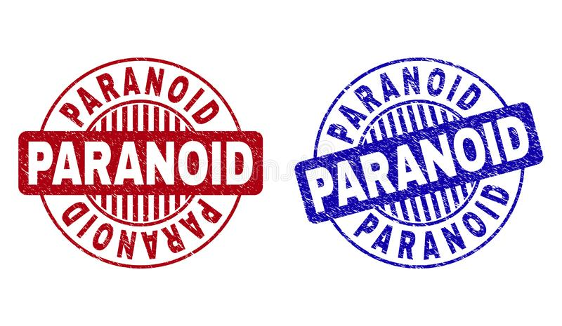 Grunge Round PARANOICZNI Porysowani znaczki ilustracja wektor