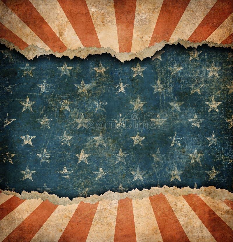 Grunge rozdzierający papierowy usa flaga szablon ilustracja wektor