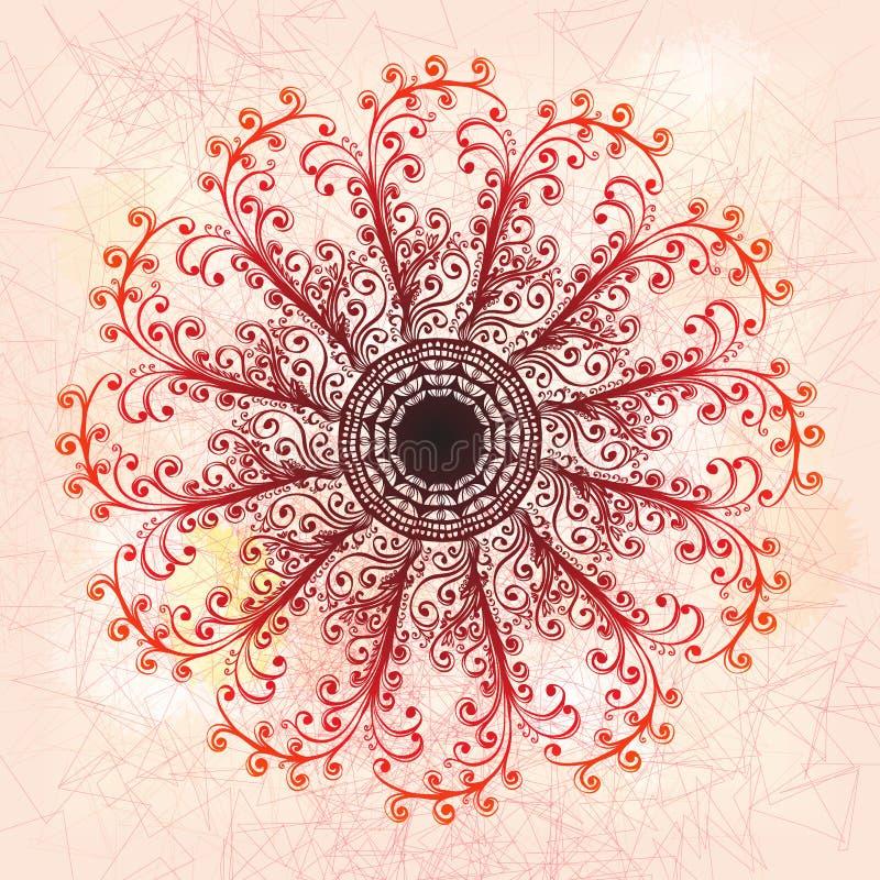 Grunge roze bloemenornament stock illustratie