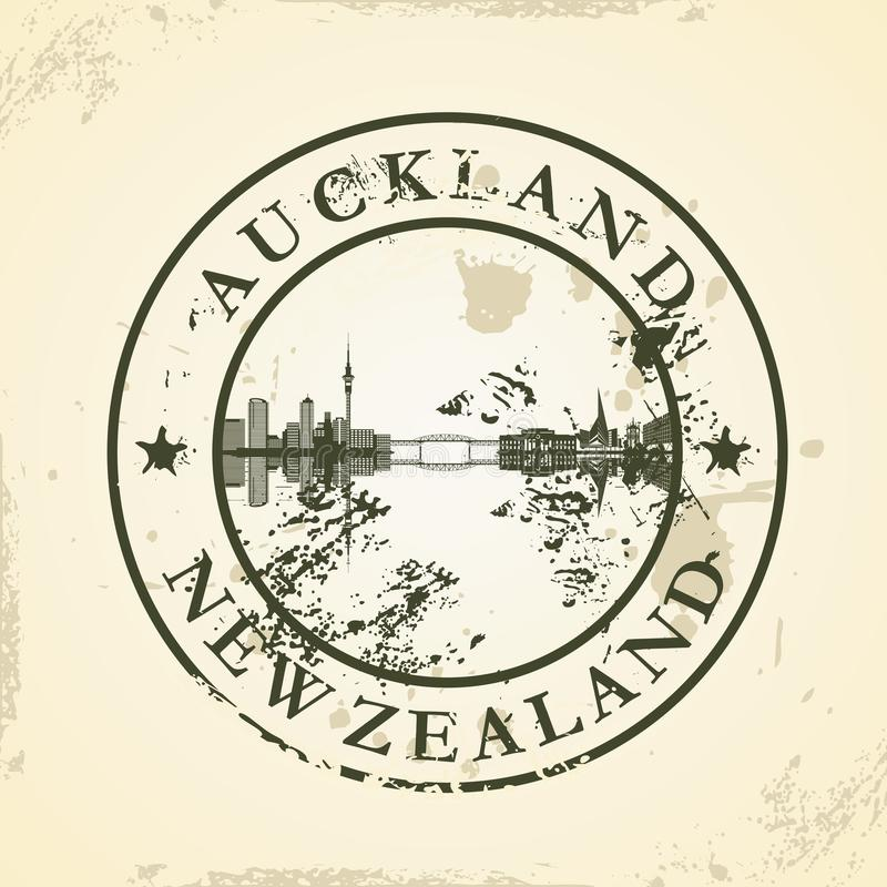 Grunge rubber stamp with Auckland, New Zealand royalty free illustration