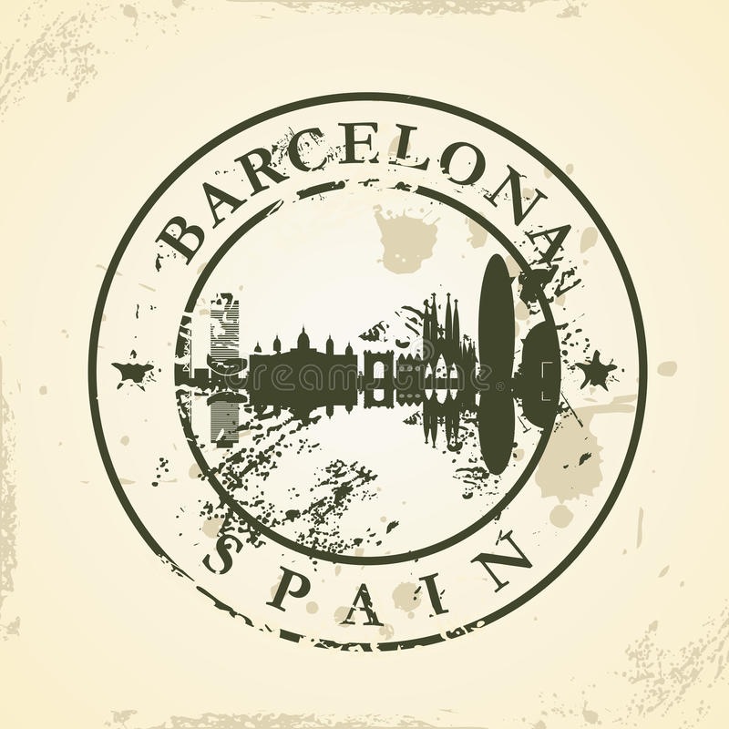 Grunge rubber stamp with Barcelona, Spain royalty free illustration