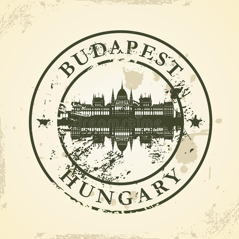 Grunge rubber stamp with Budapest, Hungary royalty free illustration