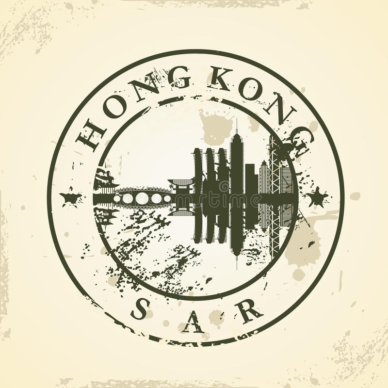 Grunge rubber stamp with Hong Kong, SAR royalty free illustration