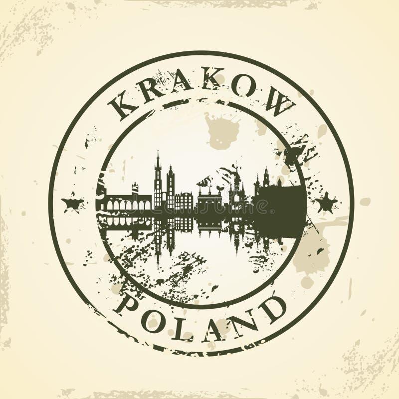 Grunge rubber stamp with Krakow, Poland stock illustration