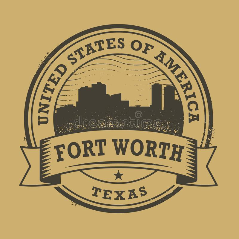 Grunge rubber stamp with name of Forth Worth, Texas. Grunge rubber stamp or label with name of Forth Worth, Texas, vector illustration stock illustration