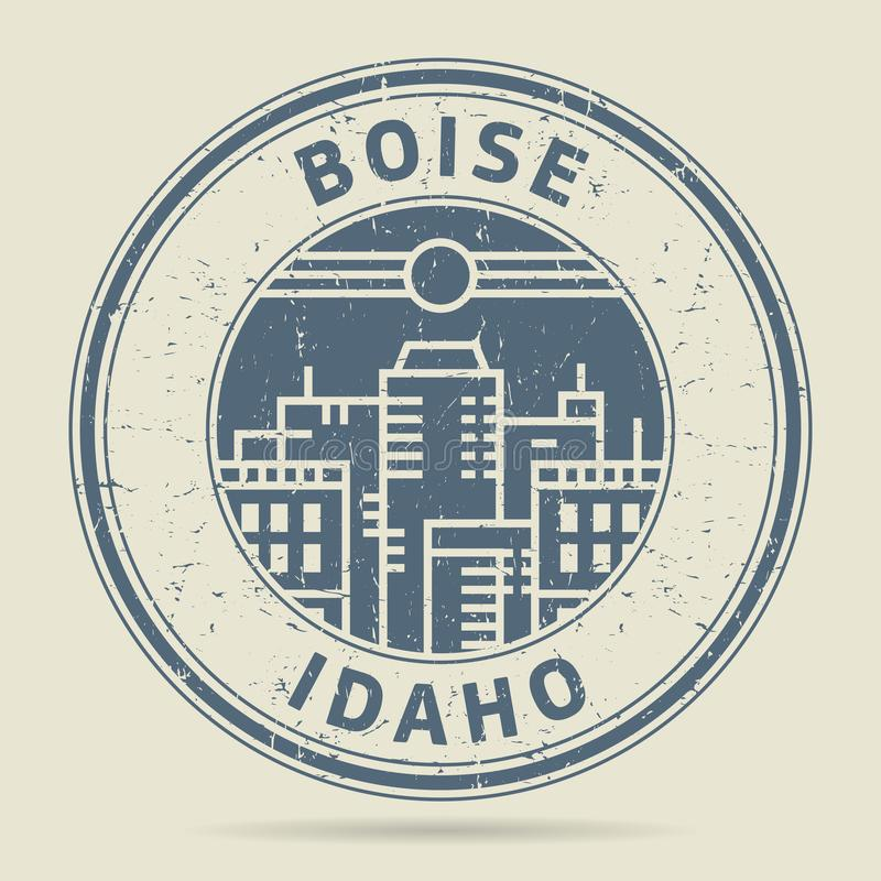Grunge rubber stamp or label with text Boise, Idaho royalty free illustration