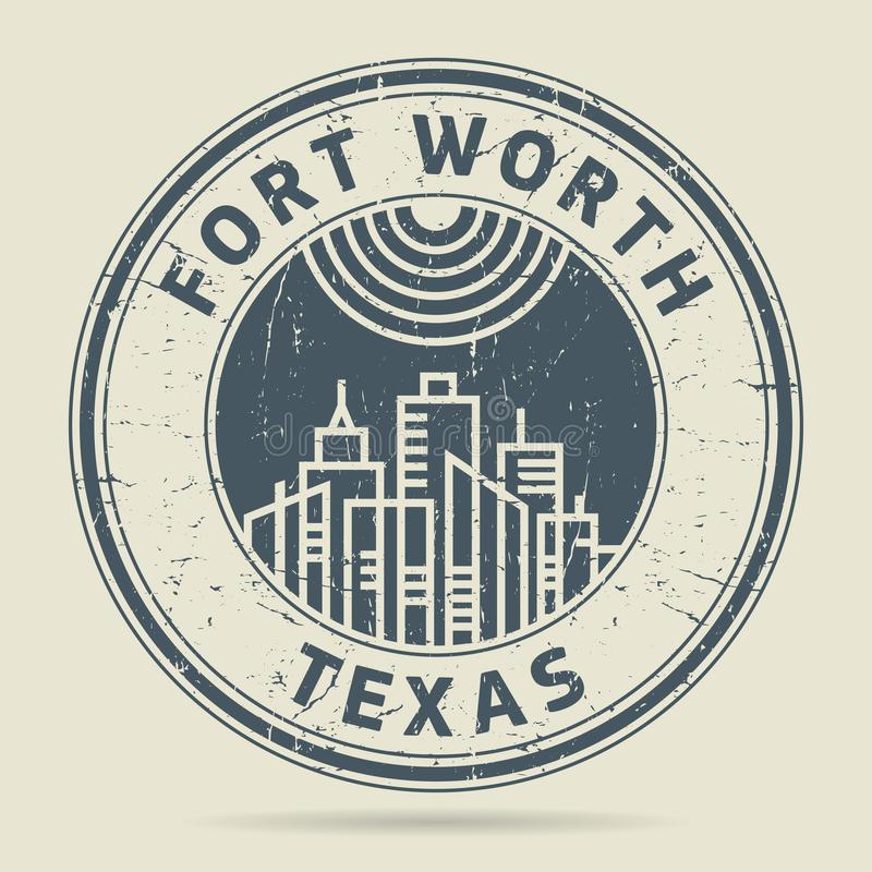 Grunge rubber stamp or label with text Forth Worth, Texas. Written inside, vector illustration vector illustration