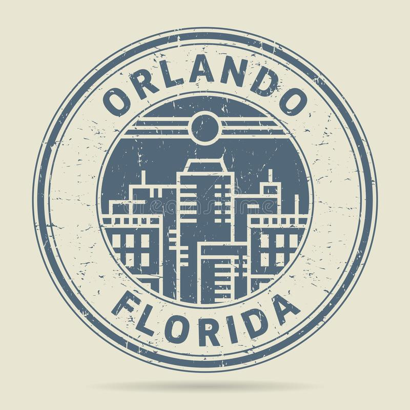 Grunge rubber stamp or label with text Orlando, Florida vector illustration