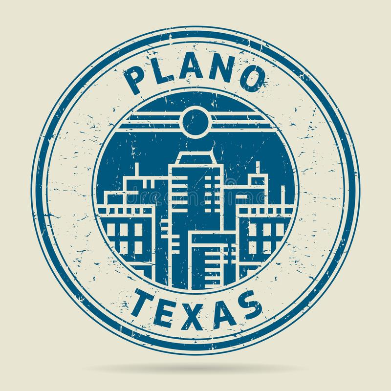 Grunge Rubber Stamp Or Label With Text Plano Texas Stock Vector