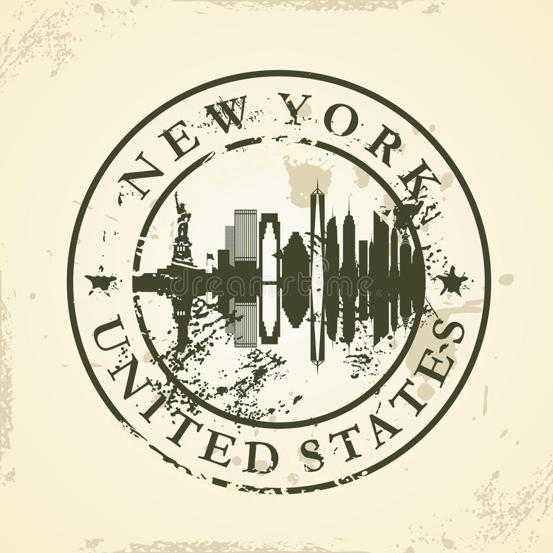 Grunge rubber stamp with new york usa stock vector for New york state architect stamp