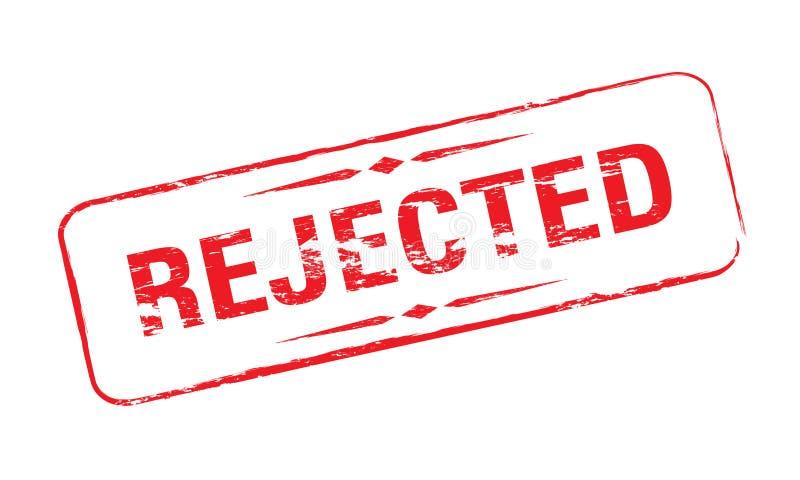 Grunge Rubber Stamp Rejected in Red Color stock illustration