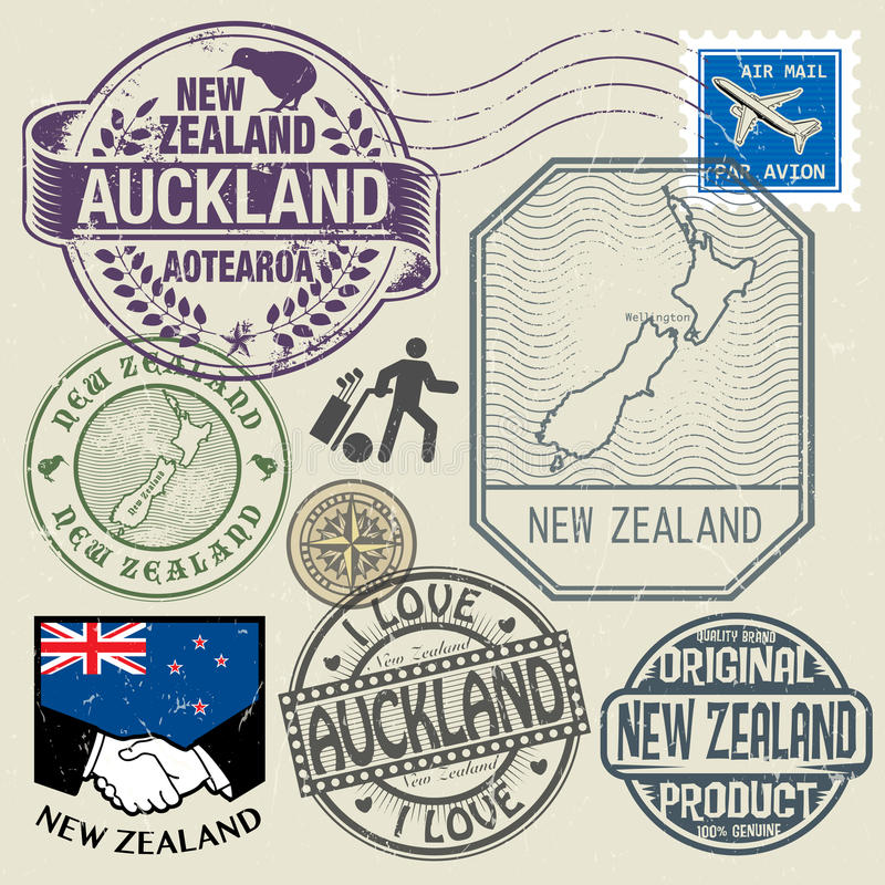 Grunge rubber stamp set with text and map of New Zealand royalty free illustration