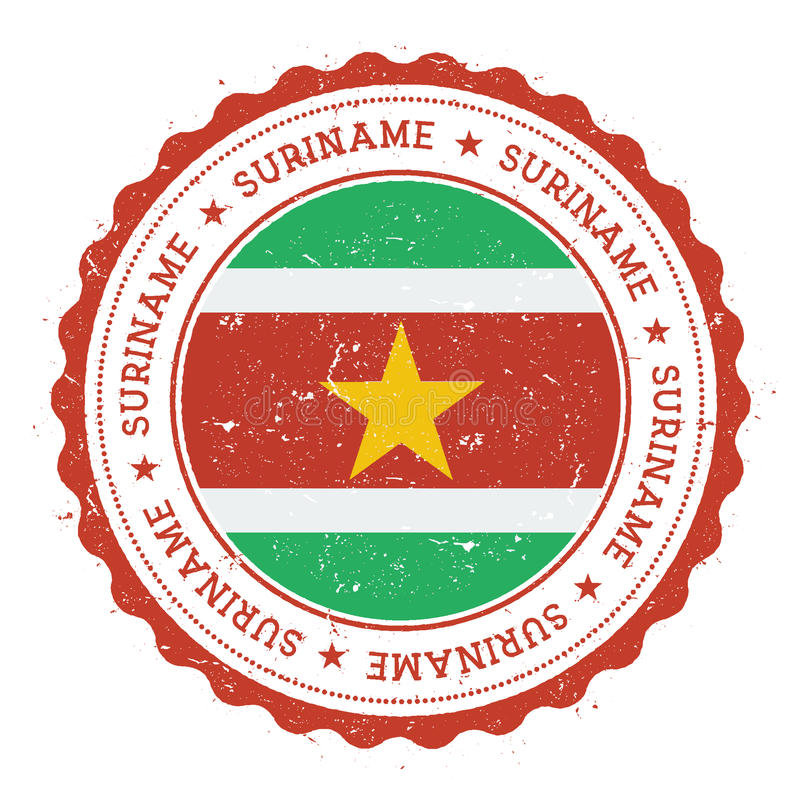 Grunge rubber stamp with Suriname flag. stock illustration