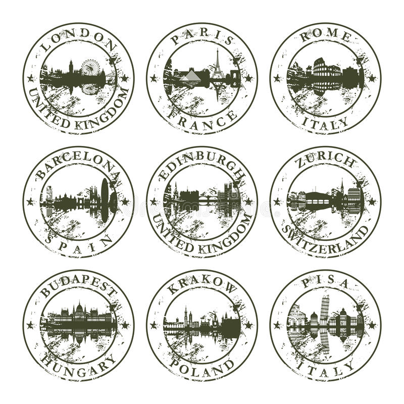 Grunge rubber stamps with european cities stock illustration