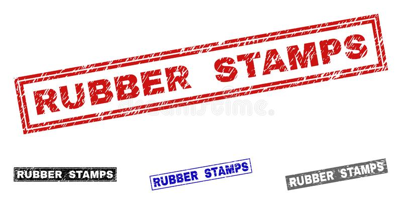 Grunge RUBBER STAMPS Textured Rectangle Stamps stock illustration