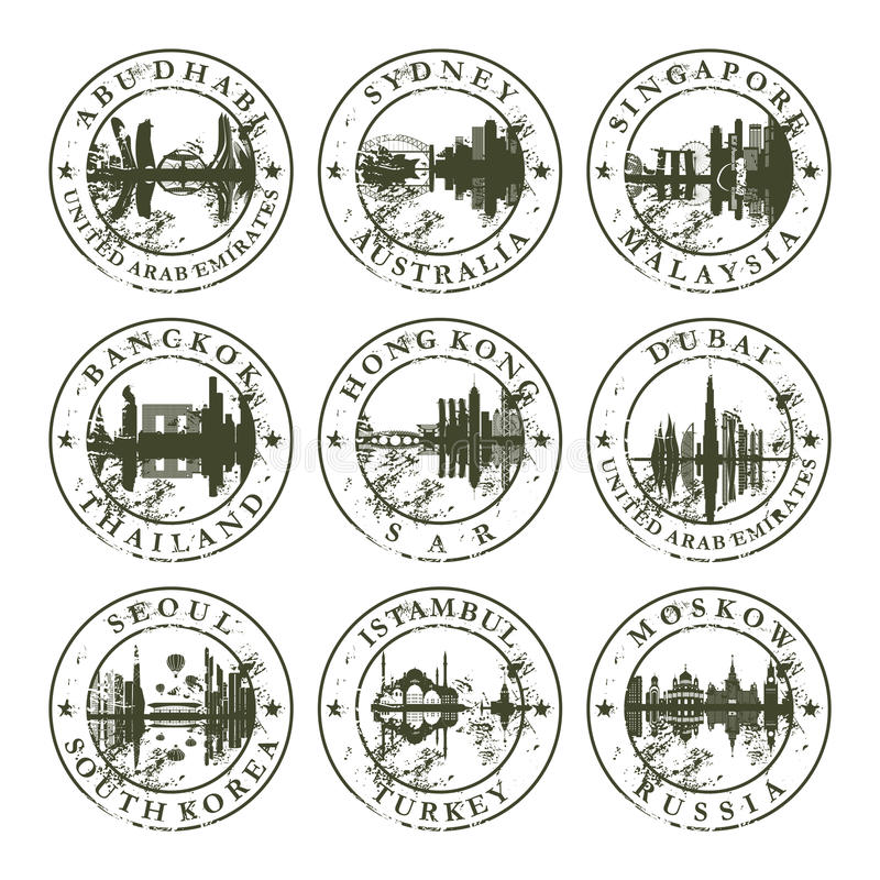 Free Grunge Rubber Stamps With Asian, Australian And Eu Stock Photo - 37078120