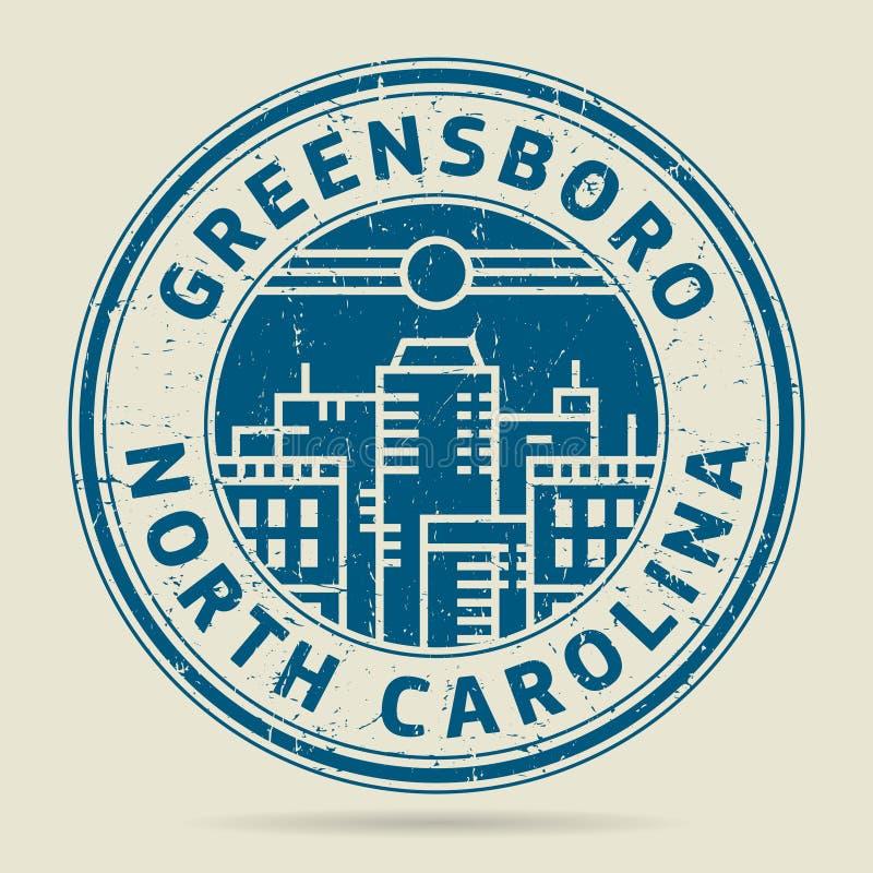 Grunge rubberzegel of etiket met tekst Greensboro, het Noorden Carolin royalty-vrije illustratie