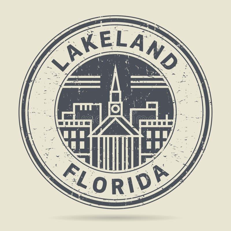 Grunge rubberzegel of etiket met tekst het Lake District, Florida vector illustratie