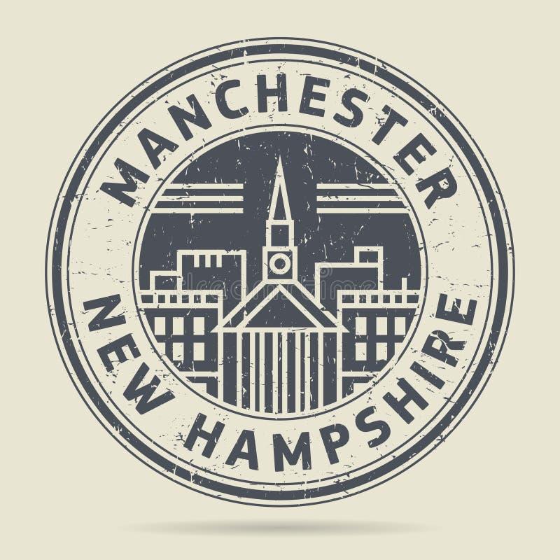Grunge rubberzegel of etiket met tekst Manchester, New Hampshire royalty-vrije illustratie