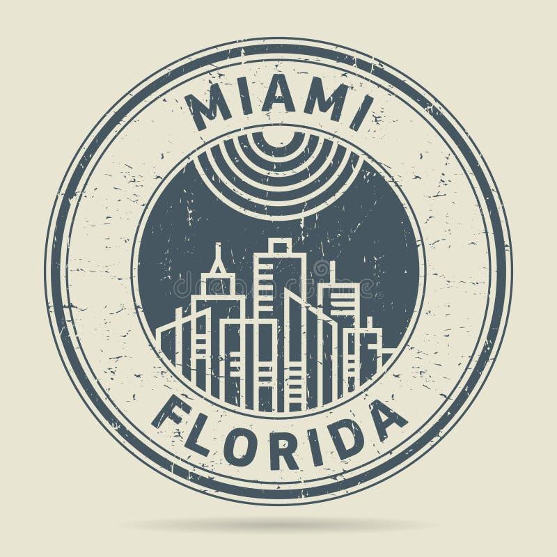 Grunge rubberzegel of etiket met tekst Miami, Florida stock illustratie