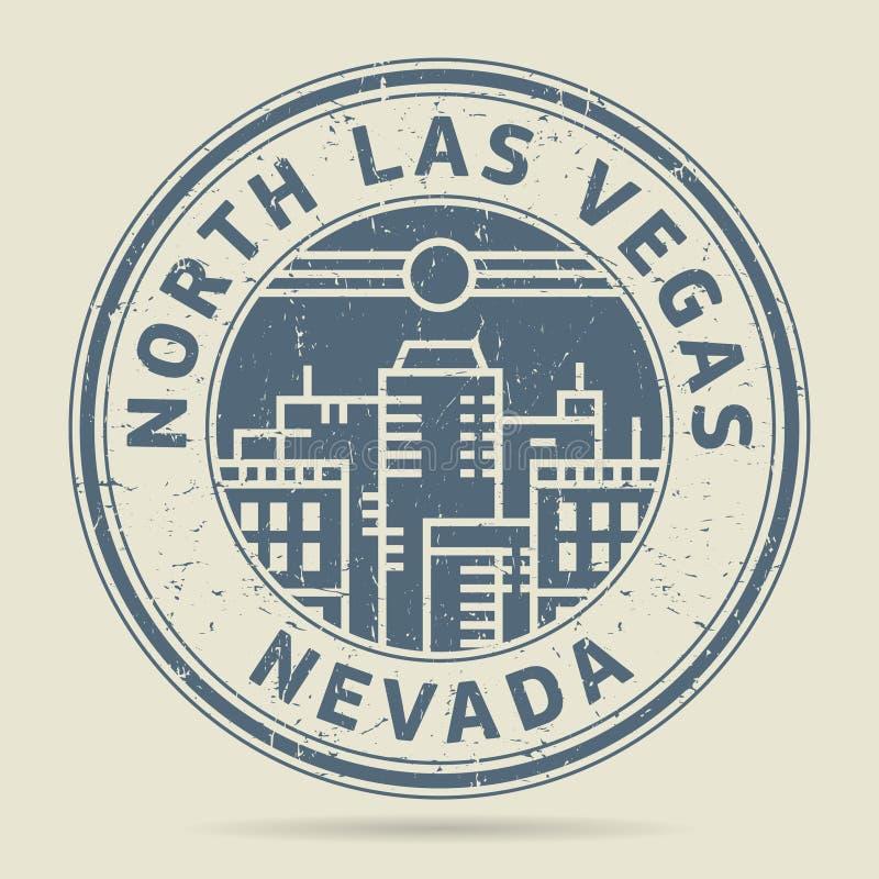Grunge rubberzegel of etiket met tekst Noord-Las Vegas, Nevada royalty-vrije illustratie