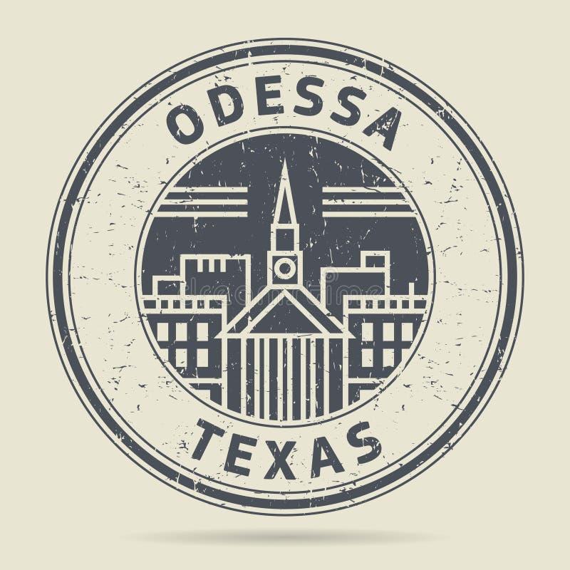 Grunge rubberzegel of etiket met tekst Odessa, Texas vector illustratie