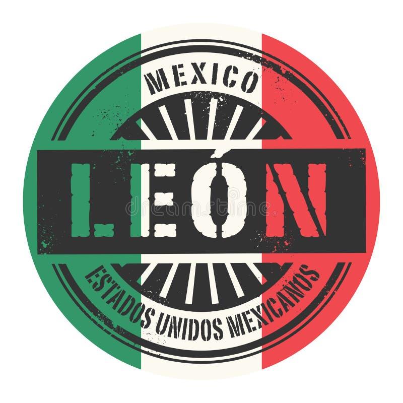Grunge rubberzegel met de tekst Mexico, Leon royalty-vrije illustratie