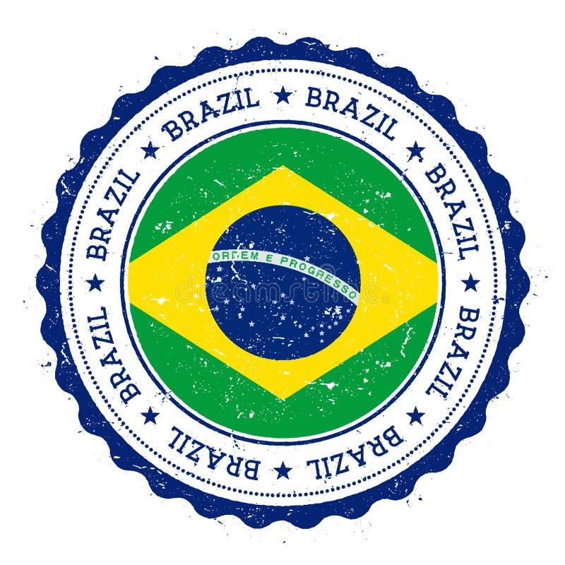 Grunge rubberzegel met de vlag van Brazilië royalty-vrije illustratie