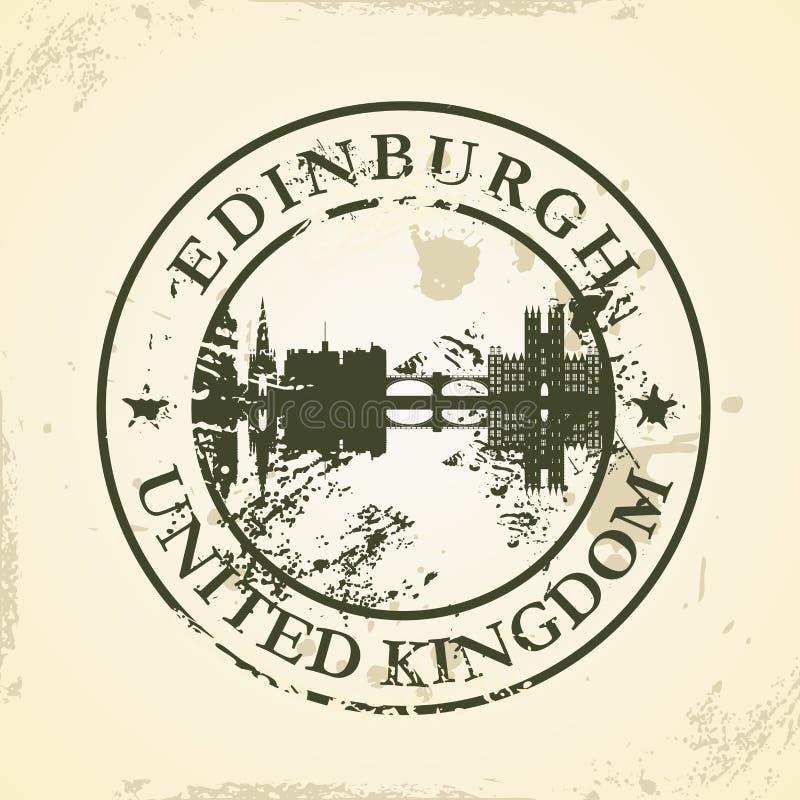Grunge rubberzegel met Edinburgh, het Verenigd Koninkrijk vector illustratie