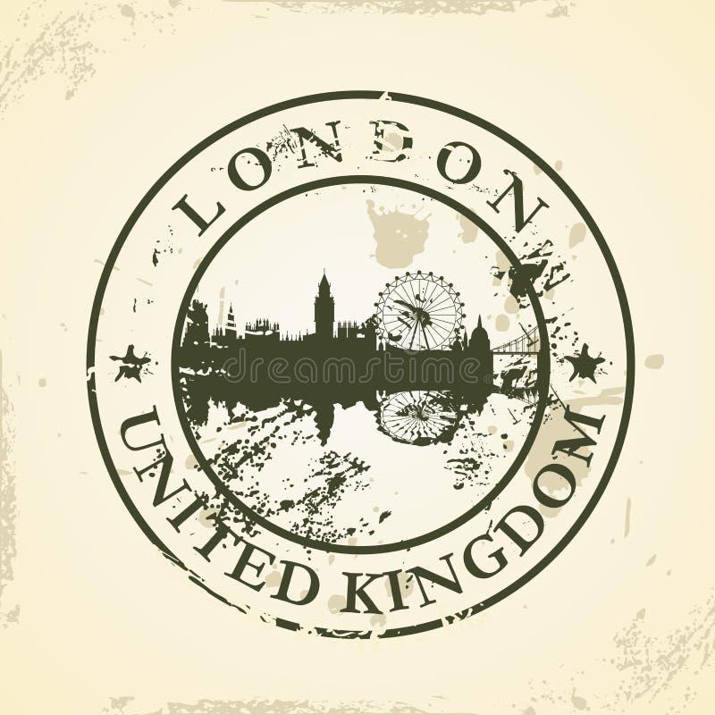Grunge rubberzegel met Londen, het Verenigd Koninkrijk vector illustratie