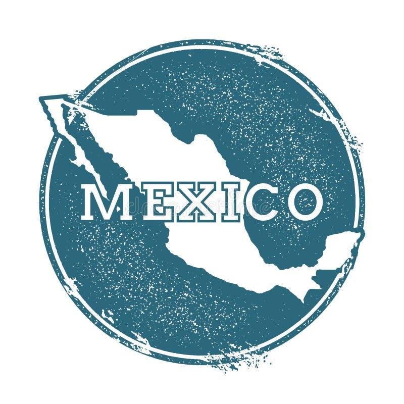 Grunge rubberzegel met naam en kaart van Mexico stock illustratie