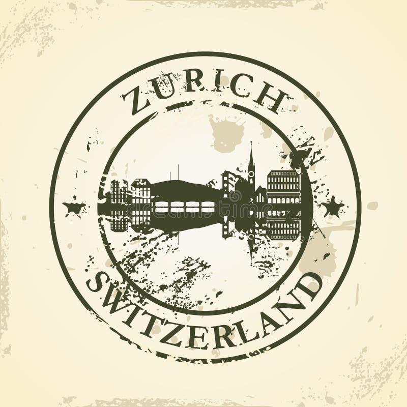 Grunge rubberzegel met Zürich, Zwitserland stock illustratie