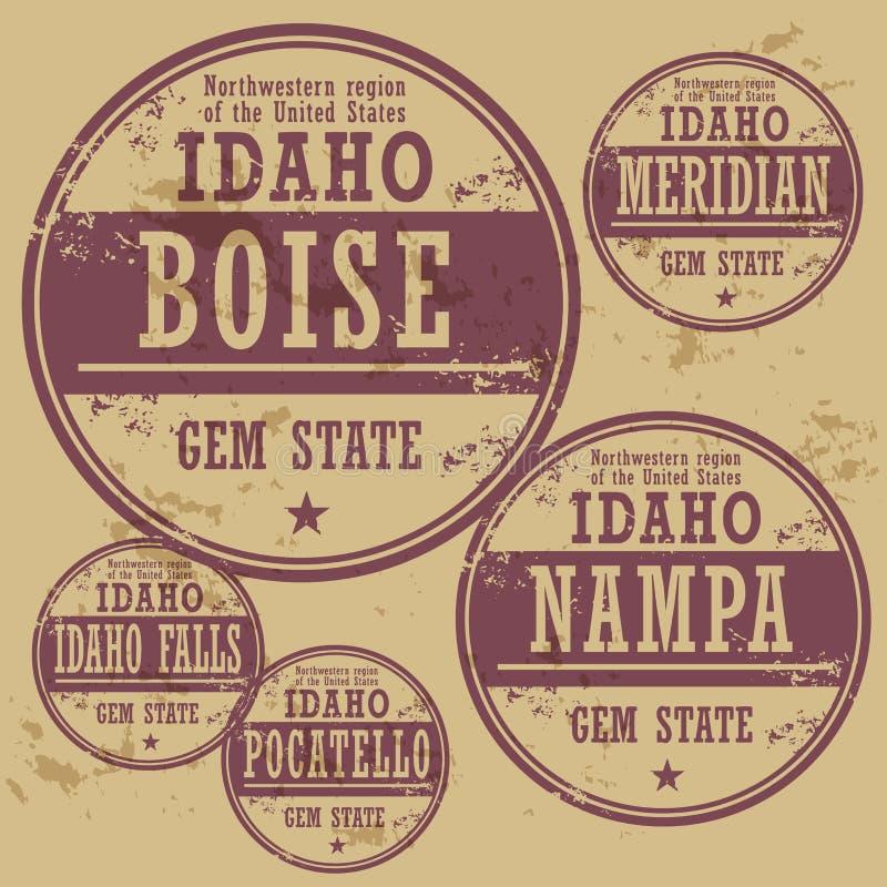 Grunge rubberzegel vastgesteld Idaho royalty-vrije illustratie